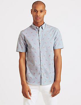 Pure Cotton Slim Fit Flamingo Print Shirt, PINK MIX, catlanding