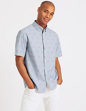 Pure Cotton Flamingo Print Shirt, PINK MIX, catlanding