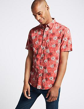 Cotton Rich Slim Fit Palm Print Shirt, BURNT SIENNA, catlanding
