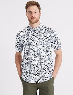 Pure Cotton Leaf Print Oxford Shirt, CHAMBRAY MIX, catlanding
