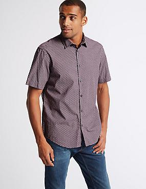 Pure Cotton Geometric Print Shirt, LILAC, catlanding