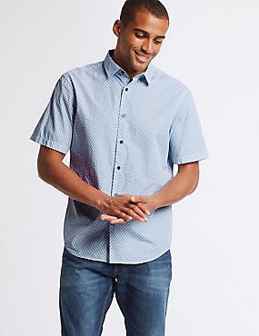 Pure Cotton Geometric Print Shirt, ICE BLUE, catlanding