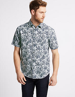 Pure Cotton Printed Shirt, NAVY, catlanding