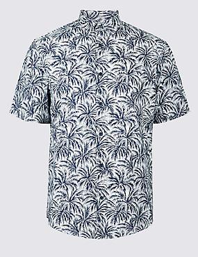 Pure Cotton Printed Shirt, NAVY, catlanding
