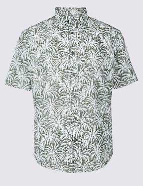 Pure Cotton Printed Shirt, KHAKI, catlanding