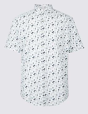 Pure Cotton Printed Shirt, WHITE, catlanding