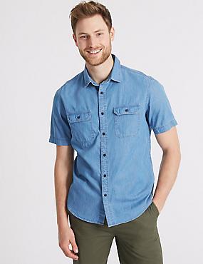 Pure Cotton Authentic Shirt with Pockets, LIGHT DENIM, catlanding