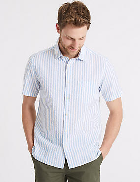 Pure Cotton Striped Shirt with Pocket, BLUE MIX, catlanding