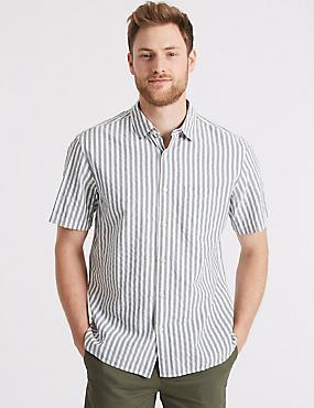 Pure Cotton Striped Shirt with Pocket, KHAKI, catlanding