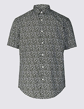 Pure Cotton Printed Shirt, KHAKI, catlanding