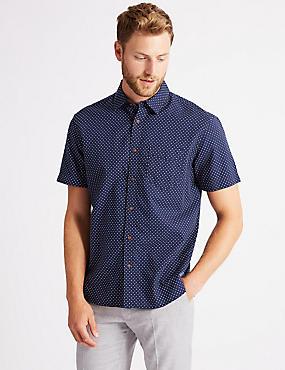 Pure Cotton Printed Shirt with Pocket, INDIGO, catlanding