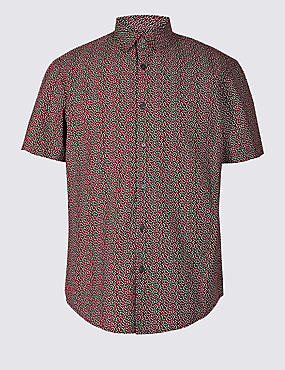 Pure Cotton Printed Shirt, RED MIX, catlanding