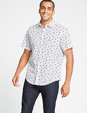 Pure Cotton Skier Print Shirt, WHITE MIX, catlanding