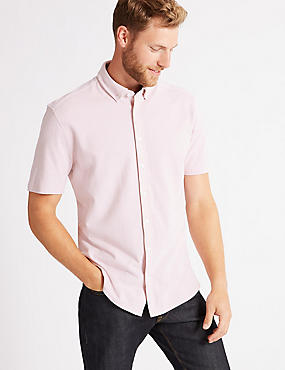 Pure Cotton Slim Fit Textured Shirt, PINK, catlanding