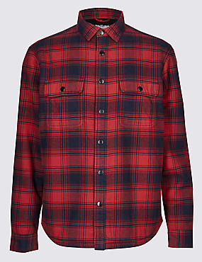 Fleece Lined Ombre Check Overshirt