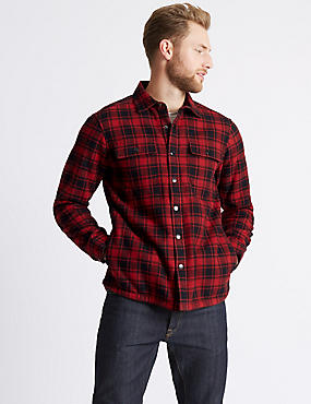 Pure Cotton Checked Shacket with Pocket, RED MIX, catlanding