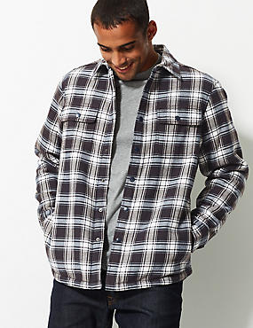 Pure Cotton Checked Shacket with Pocket, ECRU MIX, catlanding