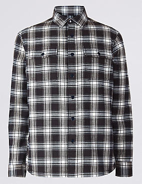 Pure Cotton Checked Shirt with Pocket, ECRU MIX, catlanding