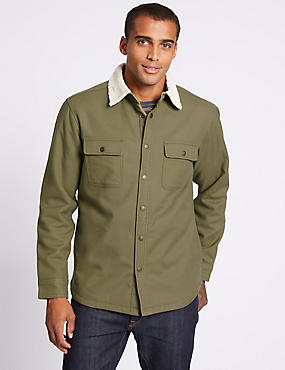 Pure Cotton Shacket with Pocket, KHAKI, catlanding