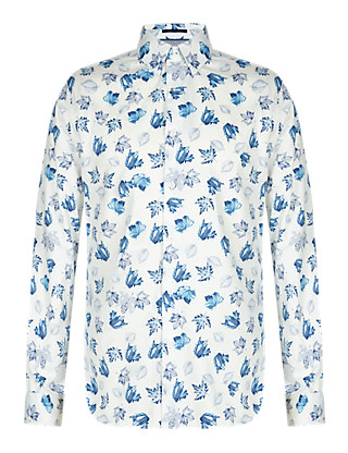 Supima® Cotton Tailored Fit Leaf Print Shirt Clothing