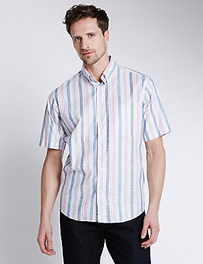 Luxury Pure Cotton Short Sleeve Bold Striped Shirt