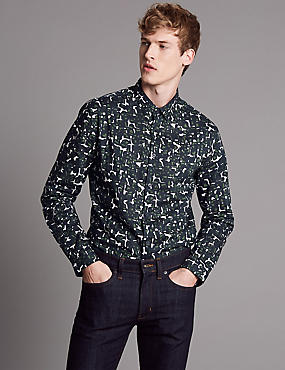 Pure Cotton Slim Fit Printed Shirt, DARK KHAKI, catlanding