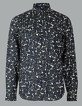 Pure Cotton Slim Fit Printed Shirt, DARK KHAKI, catlanding