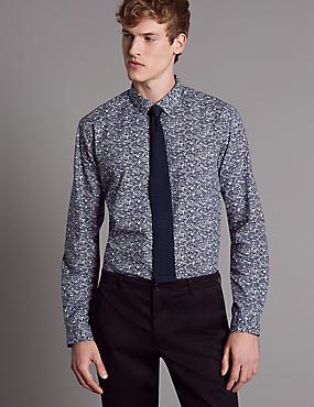Pure Cotton Slim Fit Printed Shirt, WHITE MIX, catlanding