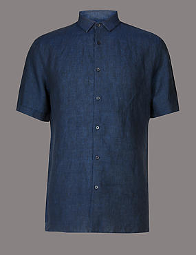 Luxury Pure Linen Slim Fit Shirt, NAVY, catlanding