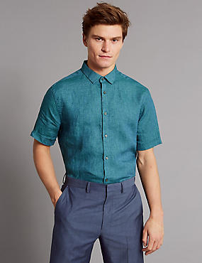 Luxury Pure Linen Slim Fit Shirt, TEAL, catlanding
