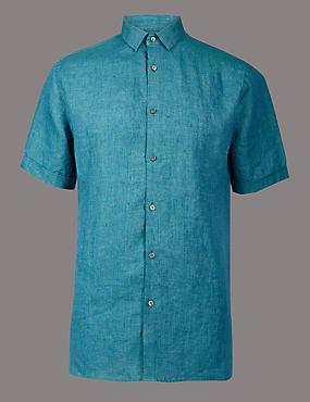 Luxury Pure Linen Slim Fit Shirt, TEAL, catlanding