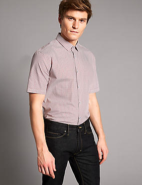 Pure Cotton Slim Fit Printed Shirt, BURNT ORANGE, catlanding