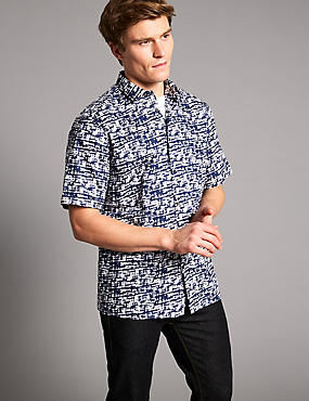 Pure Cotton Slim Fit Printed Shirt, INDIGO MIX, catlanding