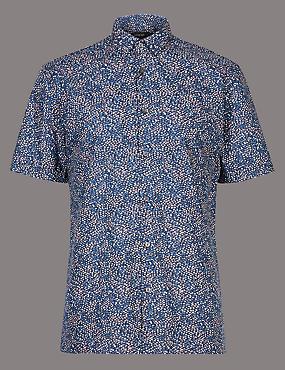 Pure Cotton Slim Fit Printed Shirt, DUSKY ROSE, catlanding