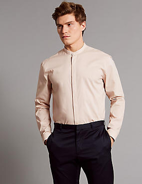 Luxury Cotton Rich Slim Fit Shirt , DUSKY ROSE, catlanding
