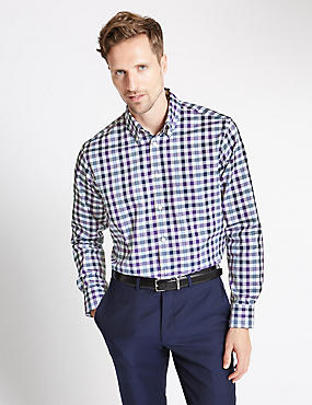 Pure Cotton Long Sleeve Gingham Checked Shirt