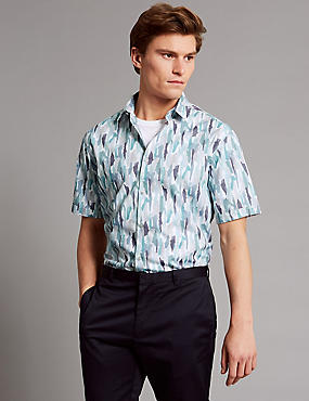 Luxury Pure Cotton Slim Fit Printed Shirt, TEAL, catlanding