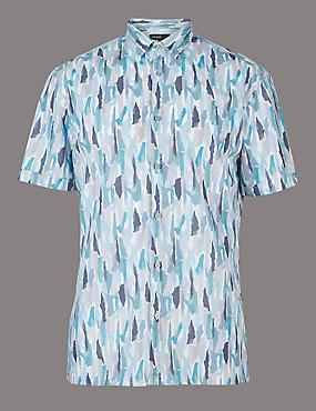 Luxury Pure Cotton Slim Fit Printed Shirt, TEAL, catlanding