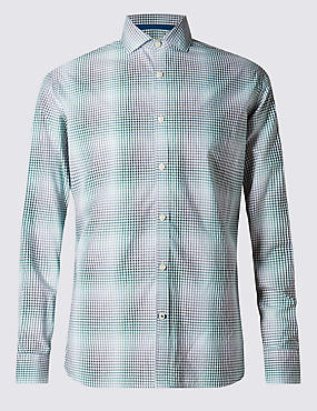 Pure Cotton Tailored Fit Shadow Check Shirt