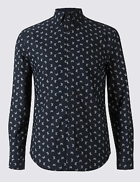 Pure Cotton Slim Fit Printed Oxford Shirt