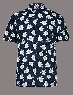 Pure Cotton Slim Fit Floral Shirt, NAVY MIX, catlanding