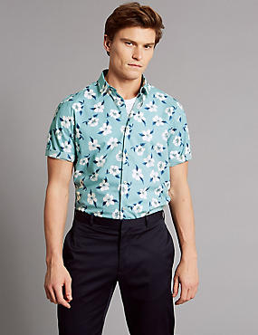 Pure Cotton Slim Fit Floral Shirt, WEDGEWOOD, catlanding