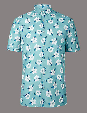 Pure Cotton Slim Fit Floral Shirt