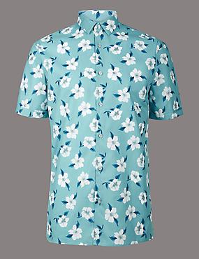 Pure Cotton Slim Fit Printed Shirt, WEDGEWOOD, catlanding