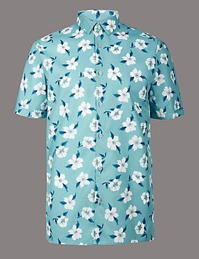 Pure Cotton Floral Print Shirt, WEDGEWOOD, catlanding