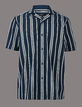 Pure Cotton Slim Fit Striped Shirt, NAVY MIX, catlanding