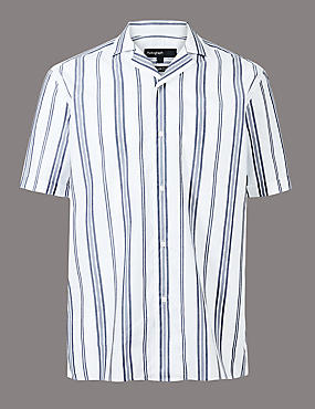 Pure Cotton Slim Fit Striped Shirt, WHITE MIX, catlanding