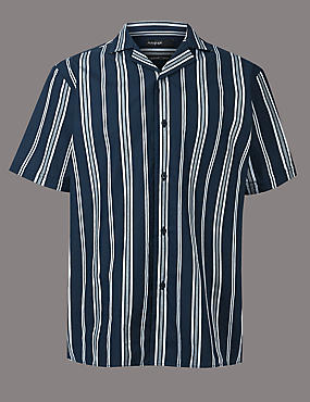 Pure Cotton Striped Shirt, NAVY MIX, catlanding