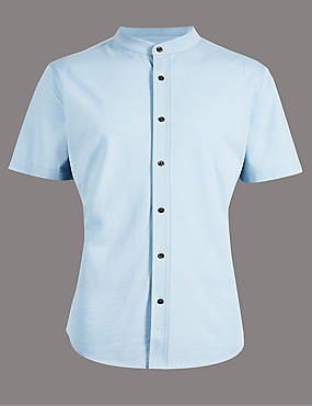 Luxury Pure Cotton Slim Fit Shirt , ICE BLUE, catlanding