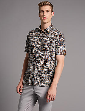 Pure Cotton Slim Fit Printed Shirt, NAVY, catlanding